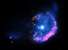 "Using NASA's Chandra X-ray Observatory, astronomers have studied the ""classical nova"" called GK Persei.  Classical novas are outbursts produced by a thermonuclear explosion on the surface of a white dwarf star, the dense remnant of a Sun-like star. This composite image of GK Persei contains X-rays from Chandra (blue), optical data from Hubble (yellow), and radio data from the Very Large Array (pink). The X-ray data show hot gas and the radio data show emission from electrons that have been accelerated to high energies by the nova shock wave. The optical data reveal clumps of material that were ejected in the explosion."